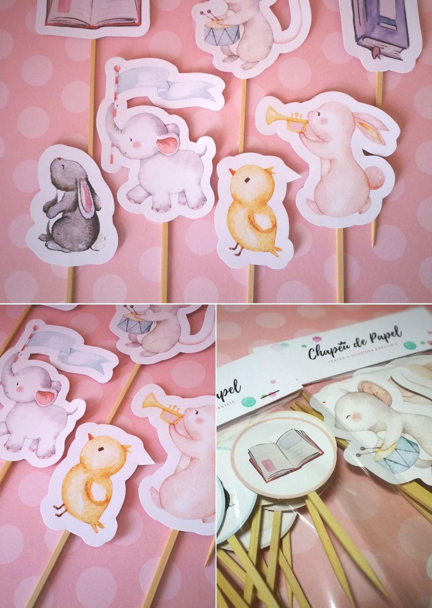 Palitinhos decorativos para festa infantil tema animais